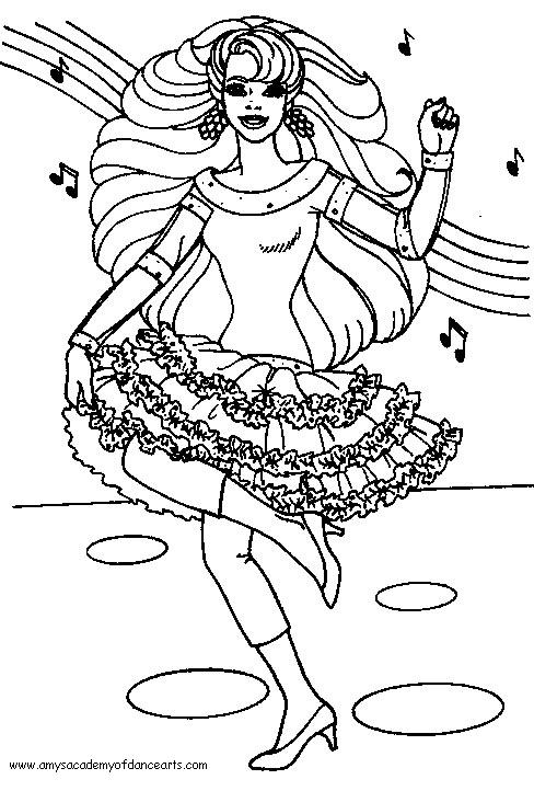 barbie dance coloring pages - photo#6